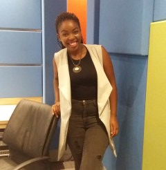 Looking confident in her stylish ensemble in studio. Photo by Xiletelo Mabasa.