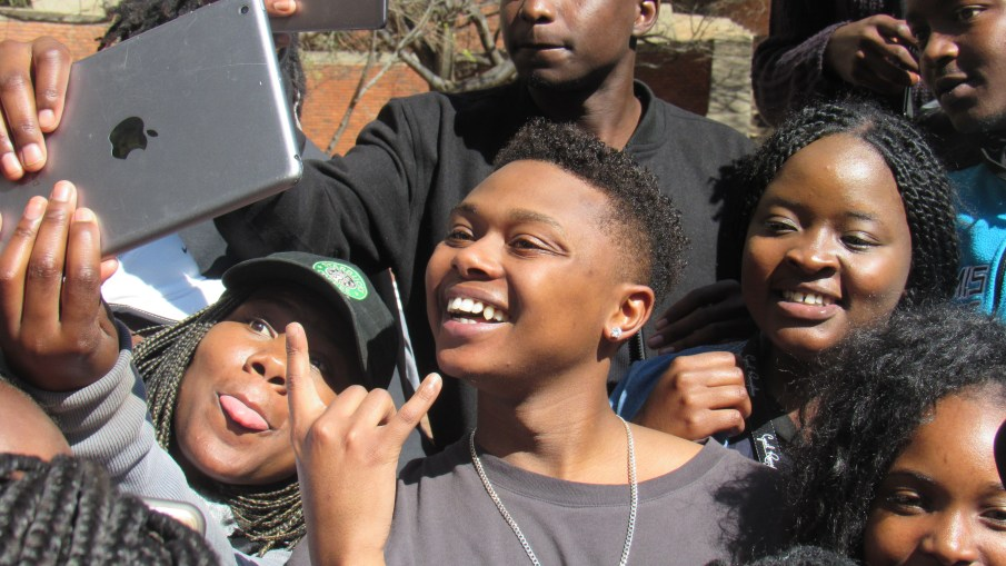 A-reece with students