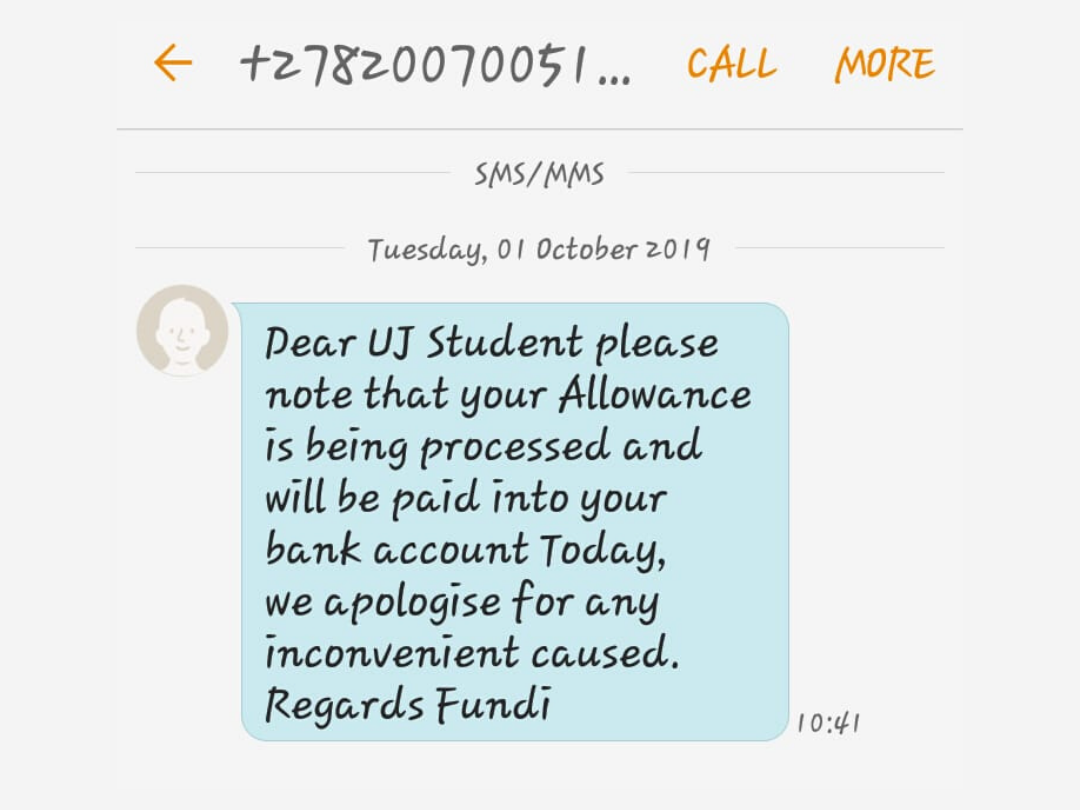 A screenshot of Fundi's SMS to students.